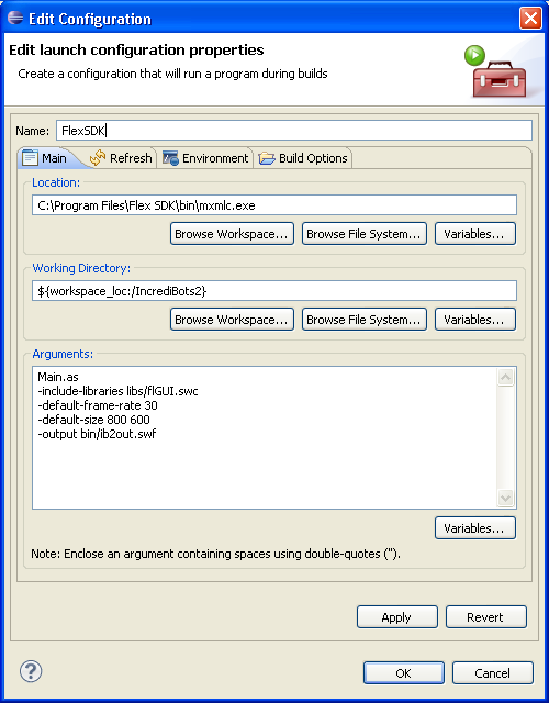 "Screenshot of Eclipse's ""Edit Launch Configuration Properties"" dialog with arguments"