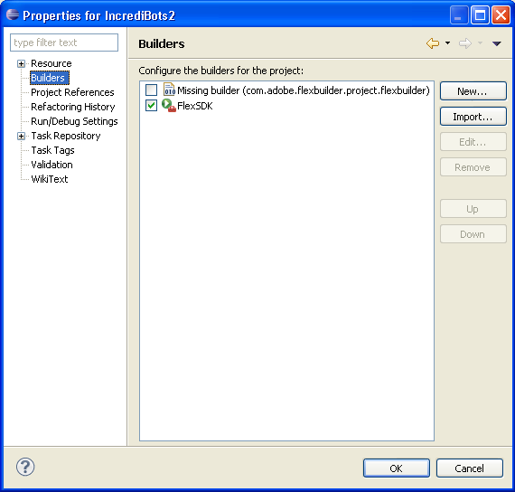 "Screenshot of Eclipse's ""Builders"" area of the ""Project Properties"" dialog"