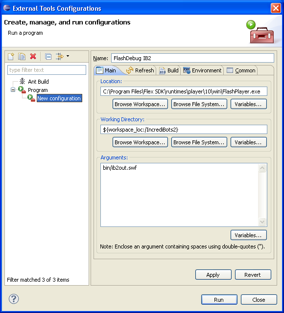 "Screenshot of Eclipse's ""Launch Configuration Properties"" dialog with arguments"