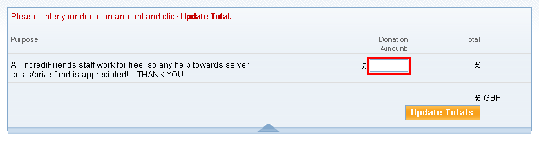 "Screenshot of PayPal's ""Donation Amount"" field"