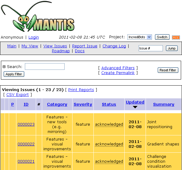 Screenshot of MantisBT feature request tracker