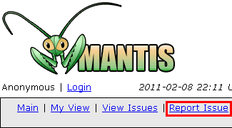 "Screenshot of MantisBT's ""Report Issue"" link"